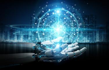 Intelligent robot humanoid using digital global network 3D rendering