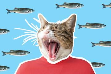 Cat and fish collage, pop art concept design. Minimal vibrant background.