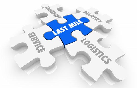 Last Mile Logistics Delivery Puzzle Pieces Words 3d Illustration