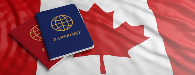 Travelling to Canada. Two passports on Canadian flag background. 3d illustration