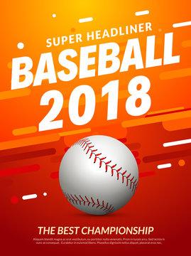 Baseball flyer poster template tournament invitation. Baseball background advertising design banner