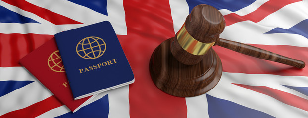 Two passports and a judge gavel on United kingdom flag background. 3d illustration