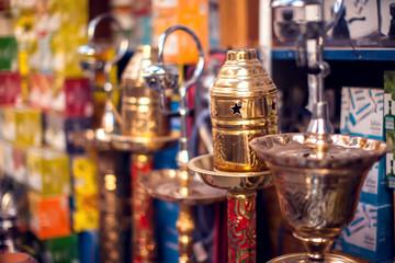 Hookah in souvenir shop,colorful shisha, arabic smoking