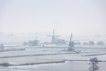 The Windmills in the Doespolder in the village of Leiderdorp in Netherlands.