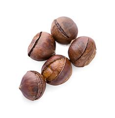 Chestnuts on white background.