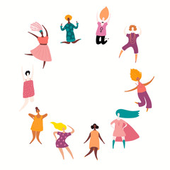 Round frame with diverse women dancing, jumping, superheroes. Isolated objects on white. Hand drawn vector illustration. Flat style design. Concept, element for feminism, girl power, womens day card.