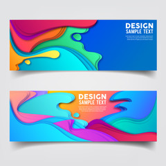 set of banner with abstract curve