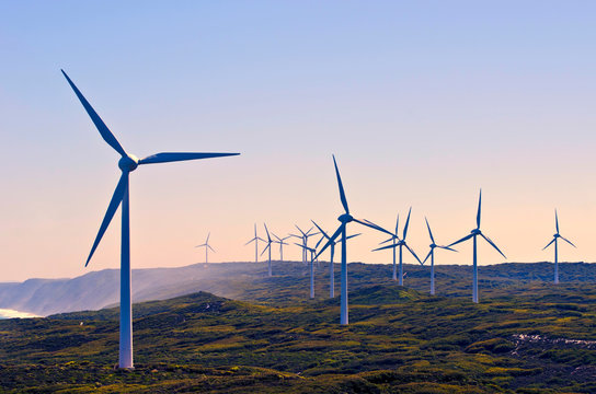 Albany Wind Farm  in Western Australia. at sunset