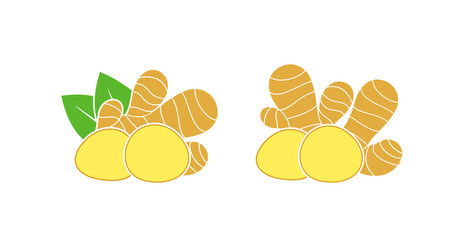 Ginger logo. Isolated ginger on white background