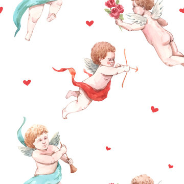 Watercolor angel putti vector pattern