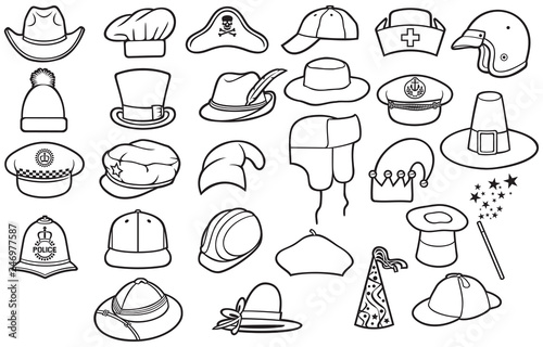 Different types of hats thin line icons set (cowboy f536fb90e02a