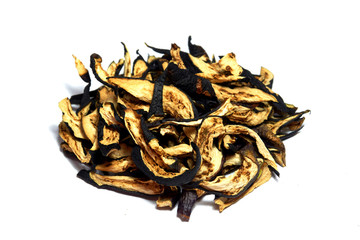 dried eggplant slices on white background.