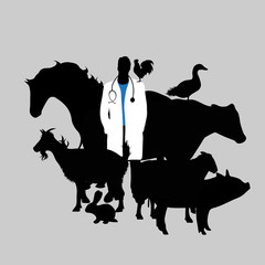 Illustration of icon veterinary. Vector silhouette on white background. Symbol urgency for animal.