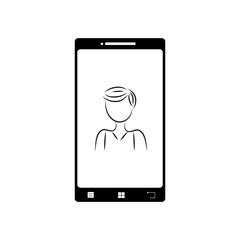 Illustration of mobil phone with anonymous man icon. Vector silhouette on white background. Symbol of telephone, cell phone, smartphone. Sign of people.