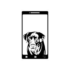 Illustration of mobil phone with dog icon. Vector silhouette on white background. Symbol of telephone, cell phone, smartphone. Labrador retriever on the screen.