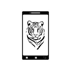 Illustration of mobil phone with tiger picture. Vector silhouette on white background. Symbol of telephone, cell phone, smartphone. Animal´s photo on the screen.
