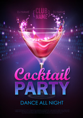 Disco cocktail party poster vector illustration