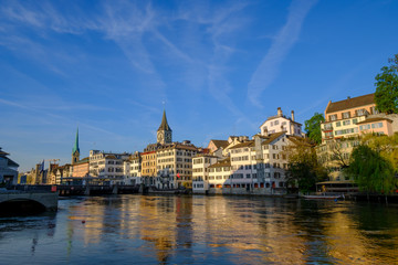 Panorama of the historic center of Zurich