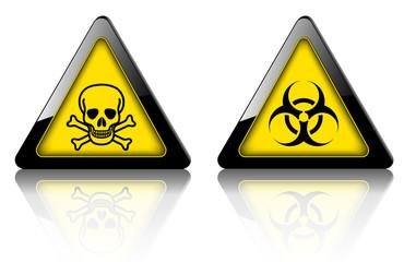 Danger and warning signs, emergency vector 3D symbols.