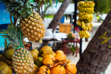 Fruit shop on a maldivian island, outdoor