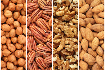 Nuts collage - hazelnuts, pecan nuts, walnuts, almonds