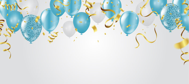 blue balloons, vector illustration. Celebration background template.