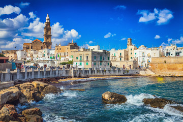 View of nice scenic city scape in Monopoli, province of Bari, Italy