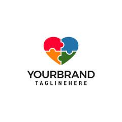 love puzzle design logo design vector template