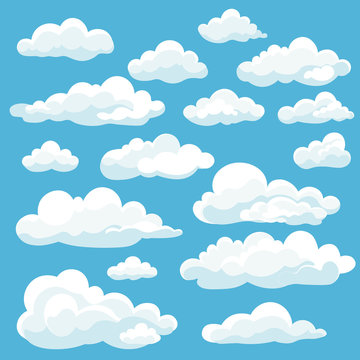 Cartoon white clouds icon set isolated on blue background. Cloudscape in flat style. Blue sky cloud weather symbol. Vector illustration cloudy panorama