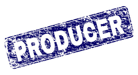 Fototapeta PRODUCER stamp seal print with distress style. Seal shape is a rounded rectangle with frame. Blue vector rubber print of PRODUCER text with grunge style. obraz