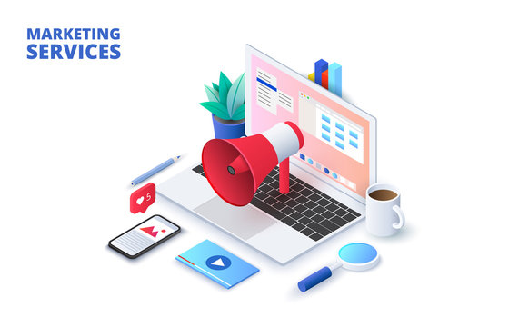 Marketing design concept with laptop, loudspeaker and other elements. Isometric vector illustration. Landing page template for web