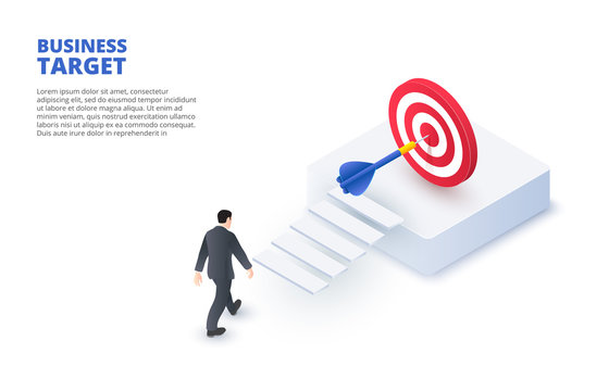 Business target design concept. Isometric vector illustration. Landing page template for web