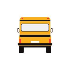 City school bus and vehicle transportation city. Vector illustration back view