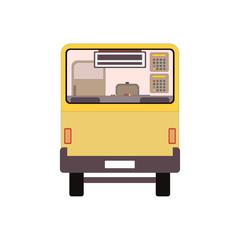 City public bus vehicle transportation. Vector illustration back view