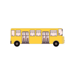 City school bus and vehicle transportation city. Vector illustration side view