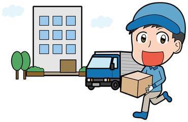 男性作業員とトラックのイラスト素材(集合住宅)