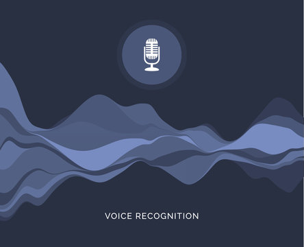 Voice recognition wave sound ai icon. Music microphone voice recognition car or phone