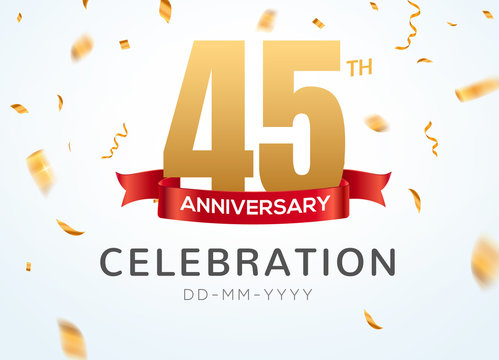 45 Anniversary gold numbers with golden confetti. Celebration 45th anniversary event party template