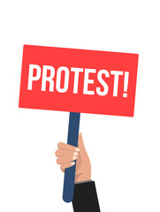 Hand holding protest sign. Protest vector banner. Flat error man and board marketing