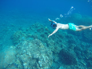 Snorkeling and underwater man