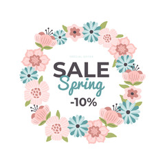 Beautiful hand-drawn banner for Spring Sale. Vector illustration with flowers, text and a discount. Great for a sell-out, website, flyer, postcard, print or banner.