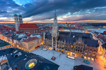 Munich. Aerial cityscape image of downtown Munich, Germany with Marienplatz during sunset.