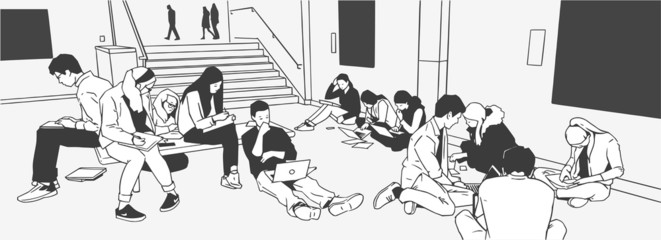 Illustration of students studying in museum