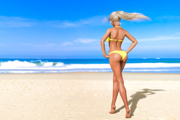 3D beautiful sun-tanned woman yellow swimsuit bikini on sea beach. Summer rest. Blue ocean background. Sunny day. Conceptual fashion art. Seductive candid pose. Realistic render illustration.