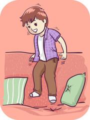 Kid Boy Inability To Sit Still Illustration