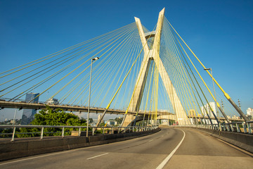 Cable-stayed bridge in the world, Sao Paulo Brazil, South America, the city's symbol