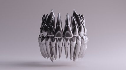 Silver Sterling teeth 3d illustration 3d render