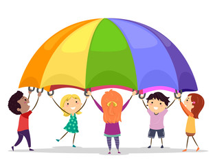 Stickman Kids Play Parachute Illustration