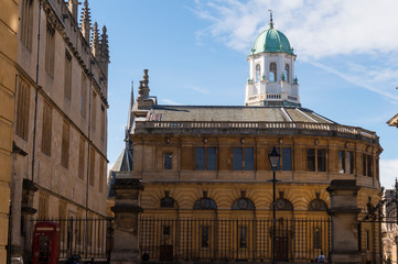 Oxford City, United Kingdom - Exploring campus of Oxford and its colleges on a summer day. Conceptual image of education and tourism.