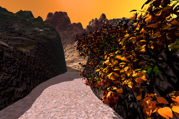 Canyon, a rocky landscape, beautiful tree with red and yellow leaves, rocks in the background and orange colored sky.
